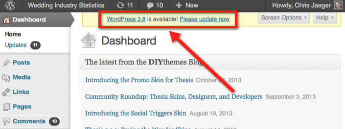 wordpress-upgrade-dashboard-notice